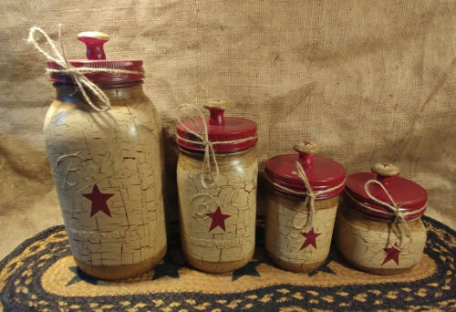 Primitive Crackle Tan & Burgundy Stars Hand Painted Mason Jar Canister Set of 4