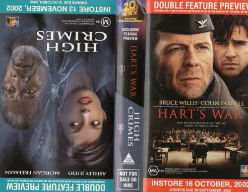 HART'S WAR / HIGH CRIMES - Willis - VHS -Time Coded -Dealer Preview -PAL -AS NEW