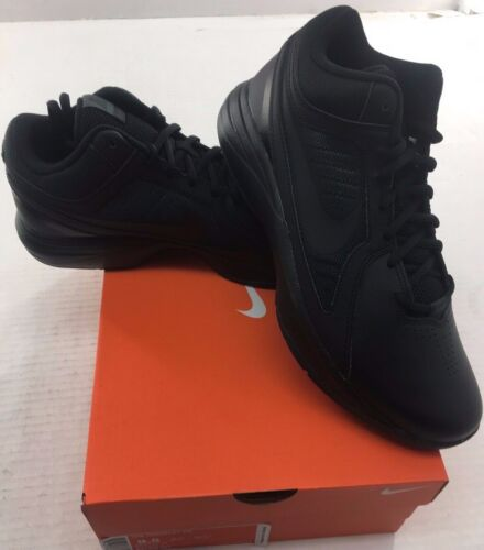 Nike The Overplay VIII Mens Black Leather Basketball Shoes - NEW - Medium