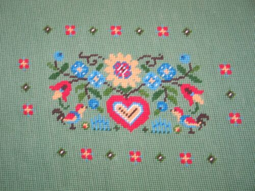 Beautiful Antique Needlepoint Scandinavian Tapestry-Vintage Completed green