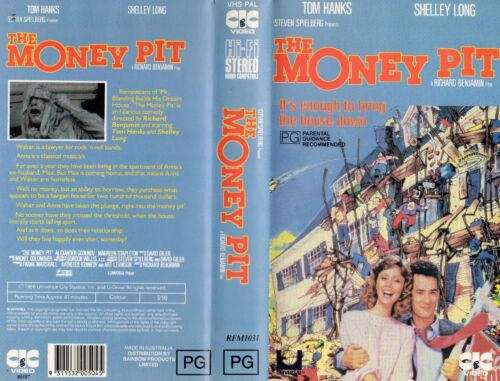 THE MONEY PIT - Tom Hanks - VHS - NEW - PAL - Original Oz sell-thru release