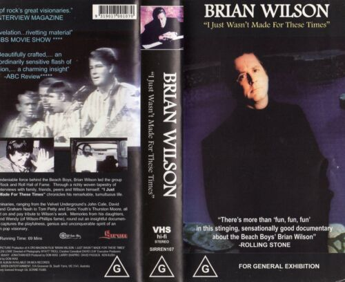 BRIAN WILSON -I JUST WASN'T MADE FOR -VHS-NEW-PAL-Original Oz sell-thru release