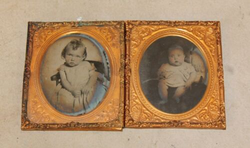 2 Mid 19th c Ambrotype 1/6 Plate Photos w Ornate Mat & Preserver  Baby & Toddler