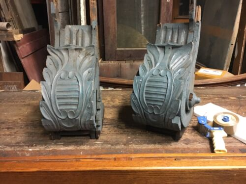 "c1850/60 pair hand carved corbel brackets roof eave elements 24x14x10"" *AS IS*"