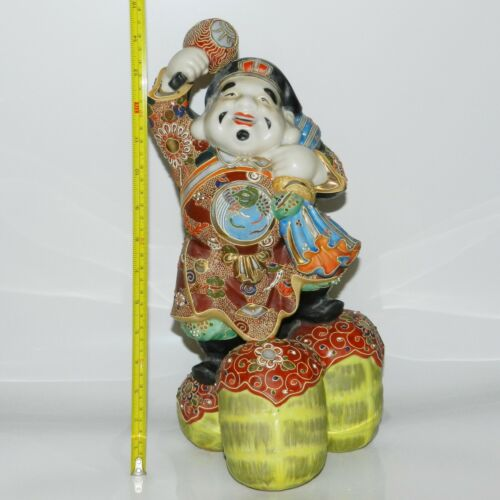 Kutani Porcelain Large Statue Japanese Moriage Daikoku 14.75 inch God of Wealth