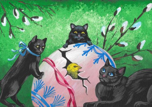 5X7 PRINT OF PAINTING EASTER BLACK CAT CHICK RYTA EGG WHIMSICAL VINTAGE STYLE