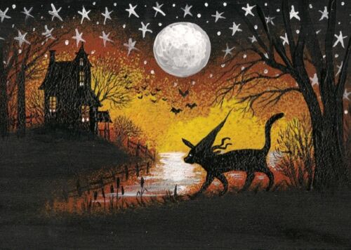 5x7 PRINT OF PAINTING RYTA HALLOWEEN BLACK CAT WITCH HAUNTED HOUSE FOLK ART