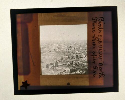 RARE Glass Slide CHICAGO FIRE 1871 Birds Eye View North 3 weeks after fire