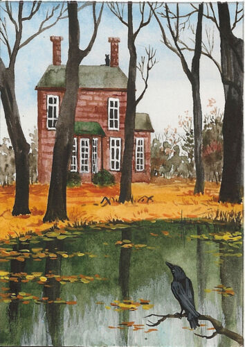 ACEO PRINT OF PAINTING HALLOWEEN RAVEN CROW RYTA LANDSCAPE BLACK CAT FALL AUTUMN
