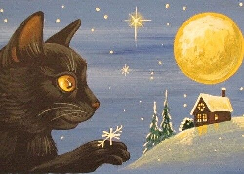ACEO PRINT OF PAINTING RYTA BLACK CAT XMAS SNOWFLAKE MOON LANDSCAPE FOLK TREE