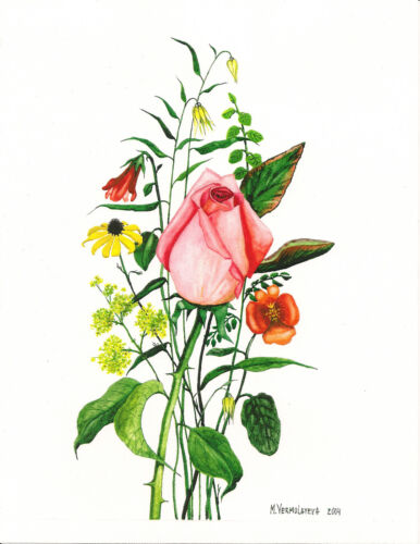 ACEO PRINT OF WATERCOLOR PAINTING RYTA FLOWERS ROSE ANTIQUE STYLE VALENTINES DAY