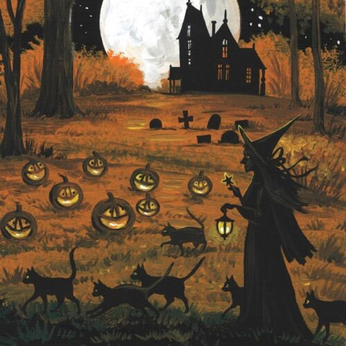 4x4 PRINT OF PAINTING RYTA FOLK HALLOWEEN BLACK CAT WITCH VINTAGE STYLE haunted