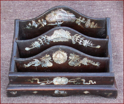 Mother of Pearl Inlayed Document Box Letter Holder Southeast Asian 1940