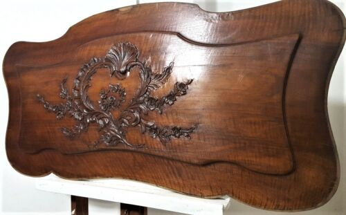 LARGE FLOWER LOUIS XV PANEL Antique frech hand carved wood architectural salvage