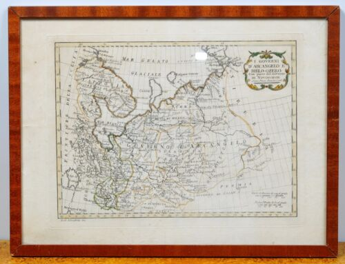 Map of Northern Russia by Italian Pazzini c.1790 late 18C antique engraving