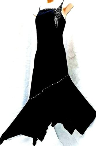 RENE DERHY Black Linen & Cotton Strappy Dress Bead Embellished Size S