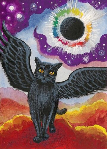 ACEO PRINT OF PAINTING RYTA BLACK CAT ART ANGEL RAINBOW NORTHERN STARS HALLOWEEN