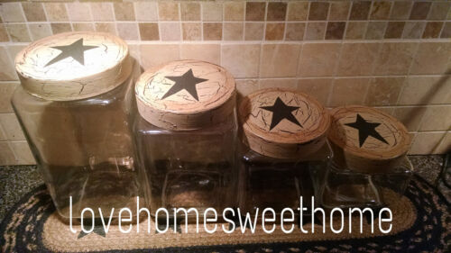 Primitive Crackle Tan & Black Star Glass Canisters, Set of 4 Country Decor