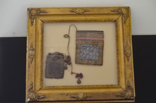 FABULOUS PERSIAN POUCHES IN PAISLEY & SILK w/ GILT ANTIQUE FRAME UU97