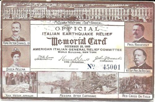Official Italian Earthquake Relief Memorial Postcard #45001~ Used 1909
