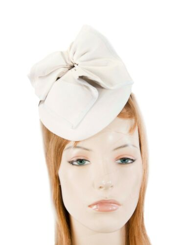 White leather pillbox fascinator by Max Alexander for races  RRP 119.95