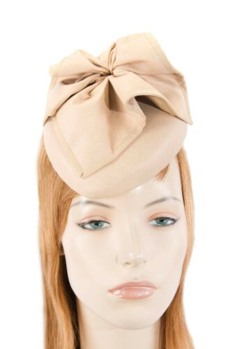 Nude leather pillbox fascinator by Max Alexander for races  RRP 119.95
