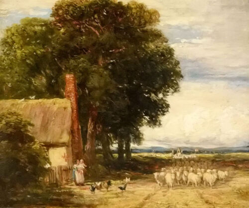 Oil painting david cox - landscape with a shepherd and sheep hand painted canvas