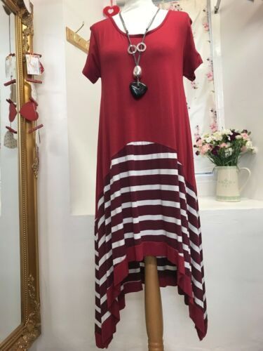 MADE IN ITALY LAGENLOOK HIGH AND LOW STRIPE DRESS SIZE 14-18