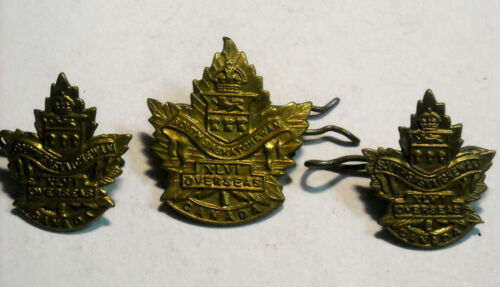 WWI CANADA COLLAR AND HAT BADGES SOUTH SASKATOHEWAN XLVI OVERSEAS GREAT COND.Canada - 13963