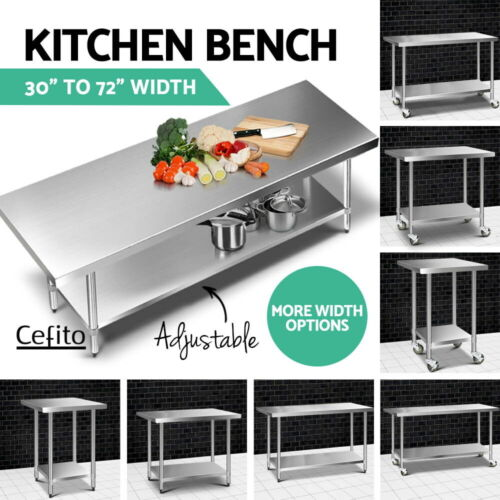 """Cefito 430 Stainless Steel Kitchen Benches Work Bench Food Prep Table Large Size <br/> 430 Food Grade✔8 Choices✔30""""&48"""" Presale,Sep 6 dispatch"""