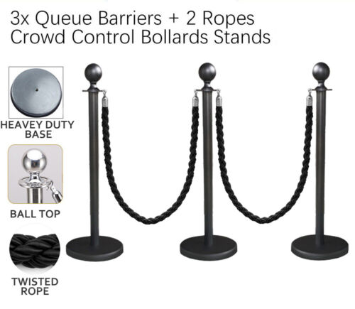 3x Queue Barriers + 2 Twisted Ropes Crowd Control Bollards BLACK POLE+BLACK ROPE