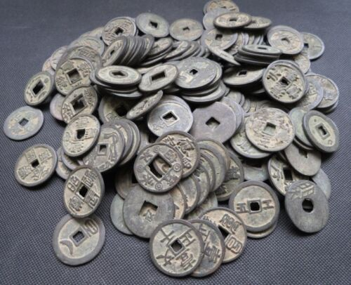 Mixture 200pc Chinese Bronze Coin Old Dynasty Antique Currency Cash 31-35mm