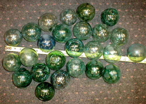 ALASKA BEACH Vintage original Japanese Glass Fishing Net Float COLLECTION of 10