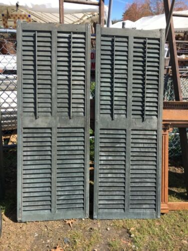 pair c1890 double wide panel louvered Victorian house window shutters 67.25 x 24