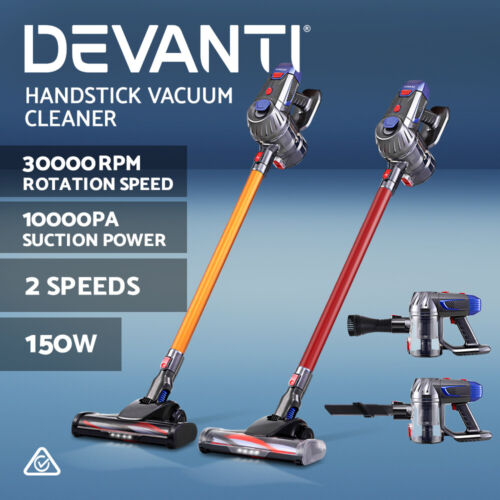 Devanti Handheld Vacuum Cleaner Cordless Bagless Stick Handstick Vac Recharge <br/> ✔10KPa Strong Suction ✔2-Speed ✔LED Headlight