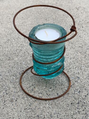 Antique Primitive Tealight Wire Candle Holder Glass Telephone Insulator ❤️m17