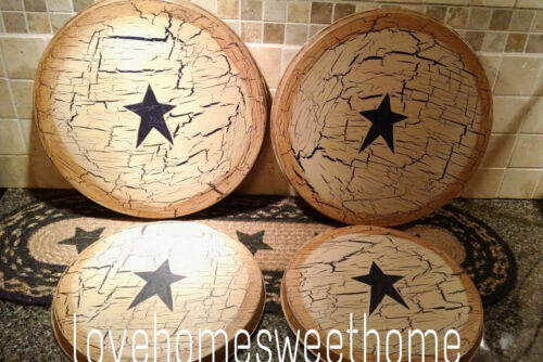 Primitive Crackle Tan & Navy Blue Star Metal Stove Burner Covers Country Decor
