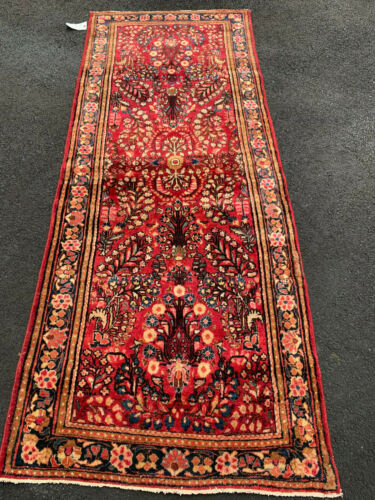 ANTIQUE  AMERICAN  SAROUK MOHAJERAN  RUNNER 3x7 FT CIR 1900