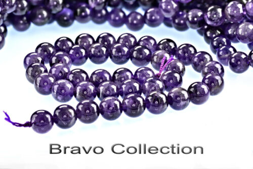 BP-094 Genuine Grade AAA Natural AMETHYST Round 10 mm Loose Beads Strand.