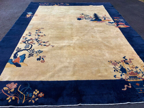 Antique Hand Made Chinese Rug 9x12ft   Circa 1900