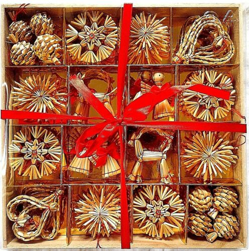 Scandinavian Straw Christmas Ornaments Box of 56 Brand New Swedish Norwegian