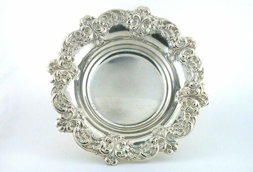 ONE VINTAGE AMSTON 5 1/8 x 4/5 Inch .925 STERLING SILVER FLORAL BOWL DISH AS25