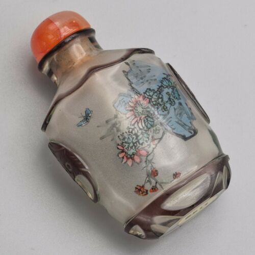 Antique Chinese Peking Glass Hand-Painted Inside Snuff Bottle 38.0 Grams