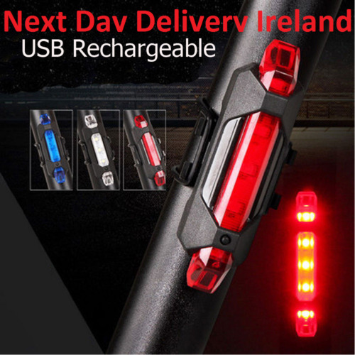 USB Rechargeable Bike Bicycle Tail Rear Warning Light Red Lamp Super Bright