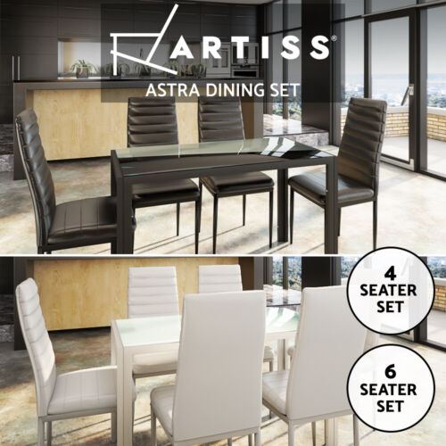 Artiss 4/5/7x Dining Table And Chairs Dining Set Glass Leather Desk Black White <br/> EOFY Sale, Best Offer, Top Quality, Fast Delivery