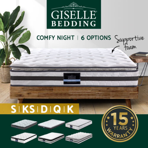 Giselle Queen Mattress Double King Single Full Size Bed Pillow Top Spring <br/> ✔25 Options✔Highest Quality✔Free Delivery-Selected Area