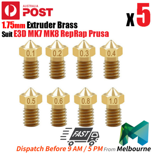 5x 3D Printer 1.75mm Nozzles Suit E3D MK7 MK8 RepRap Prusa Extruder Brass