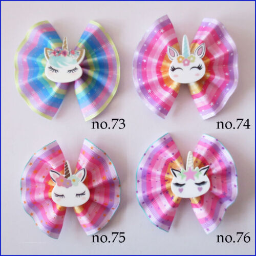 """1000 BLESSING Girl 3"""" Fan Hair Bow Clip Colorful Unicorn Accessories Wholesale"""