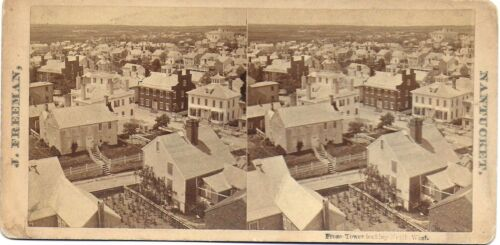 J Freeman Stereoview of Nantucket – From Tower Looking Northwest 1870-80s