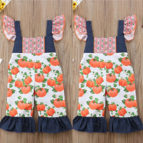 New Toddler Baby Girl Kids Halloween Overall Sleeveless Jumpsuit Bodysuit Outfit